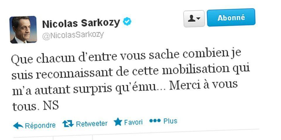 """L'UMP réunit 11 millions pour le Sarkothon : Nicolas Sarkozy tweete sa """"reconnaissance"""", sa """"surprise"""" et son """"émotion"""""""