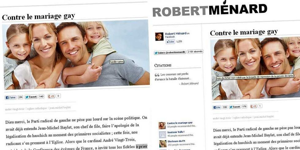 "La ""famille saine"" selon le site de Robert Ménard"