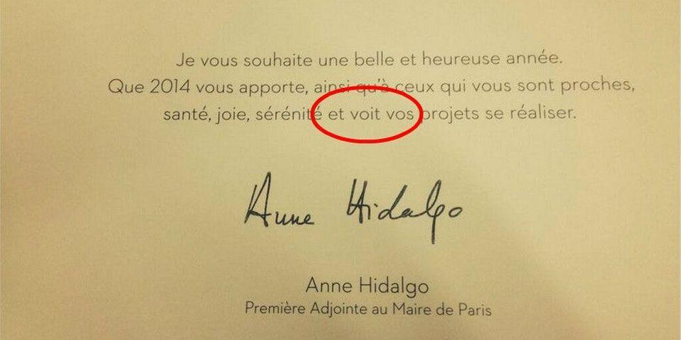 La faute de conjugaison de la carte de voeux d'Anne Hidalgo