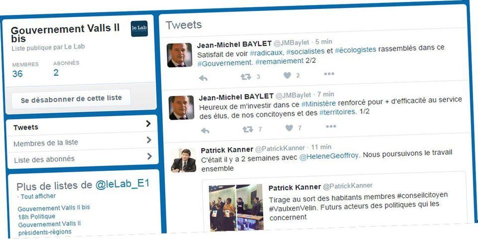 La liste Twitter des 37 membres du gouvernement Valls II bis