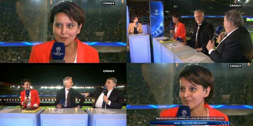 La première interview de Najat Vallaud-Belkacem ministre des Sports, à la mi-temps du match PSG-Chelsea