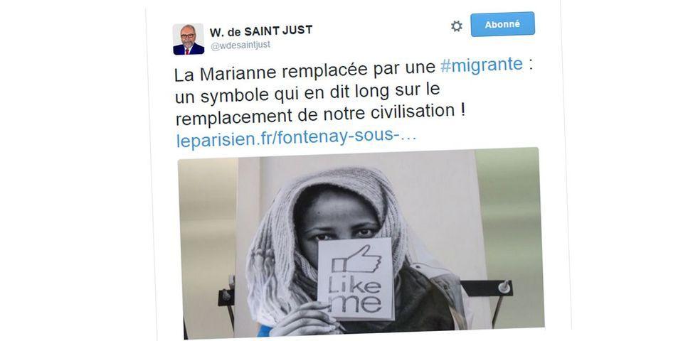 Wallerand de Saint-Just (FN) profondément choqué par une Marianne représentée en réfugiée