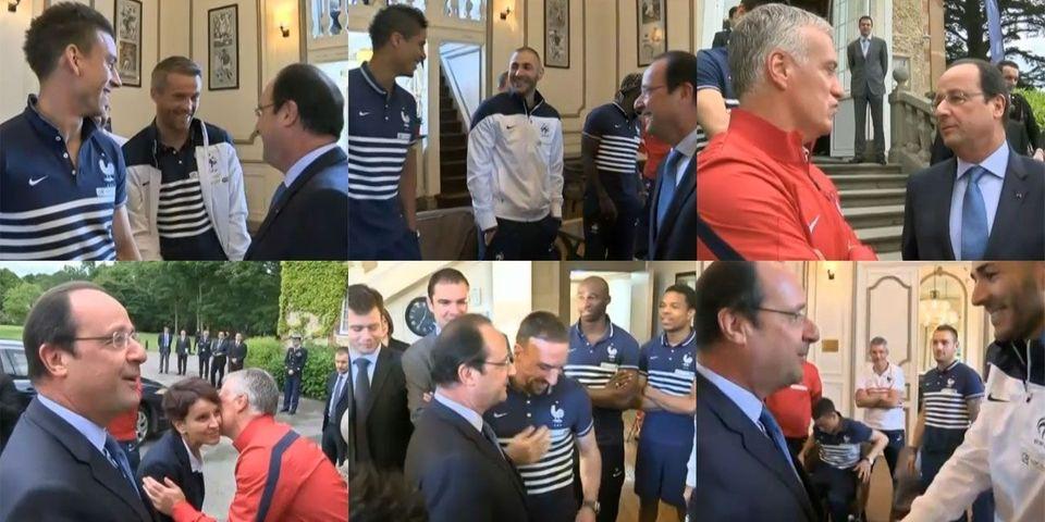 La visite de François Hollande à l'équipe de France de football se transforme en séance de petites blagues