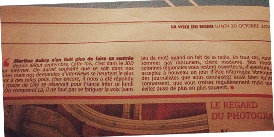 La Voix du Nord reproche à Martine Aubry de limiter son plan com' aux médias nationaux