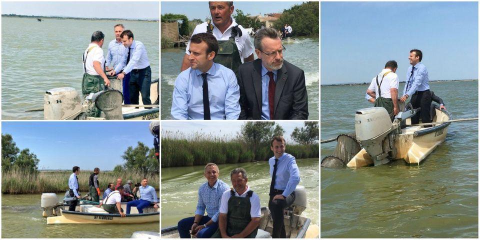 Le beau vendredi après-midi d'Emmanuel Macron en barque sur l'étang de l'Or