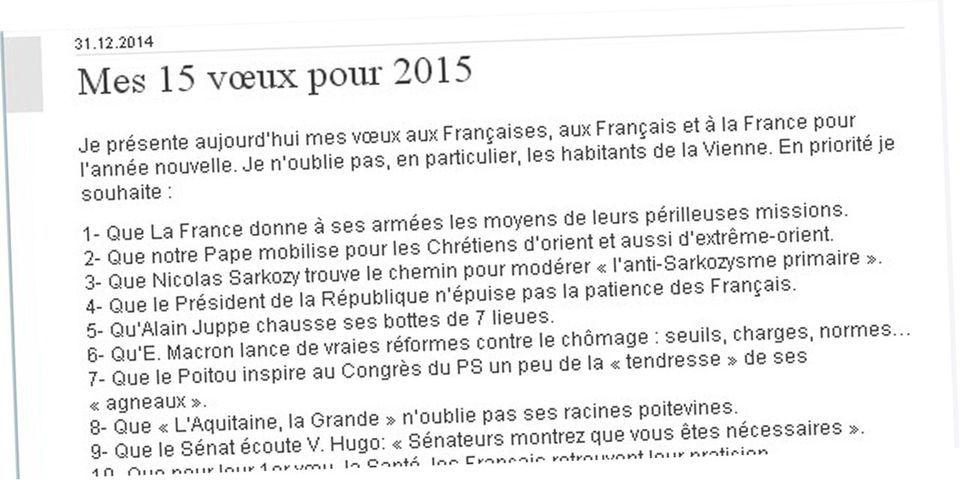 Sarkozy, Petit Poucet et Philae : le best-of des vœux 2015 de Jean-Pierre Raffarin