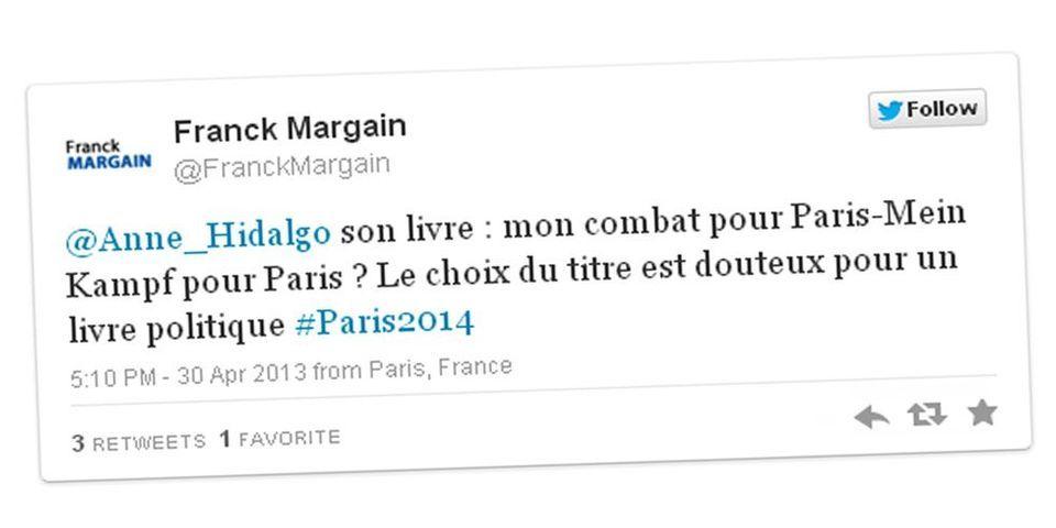 """Le candidat chrétien-démocrate à la mairie de Paris Franck Margain compare le livre d'Anne Hidalgo à """"Mein Kampf"""""""