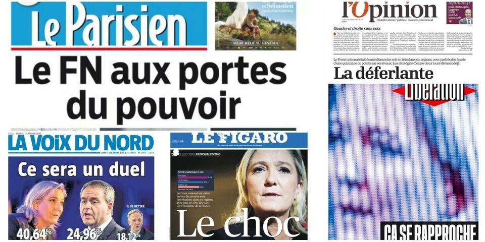 """""""Le choc"""", """"le FN aux portes du pouvoir"""", """"la déferlante"""" : les unes de la presse au lendemain du premier tour des élections régionales"""
