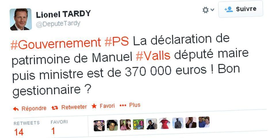 """La déclaration de patrimoine de Manuel Valls est """"louche"""", selon le député UMP Lionel Tardy"""
