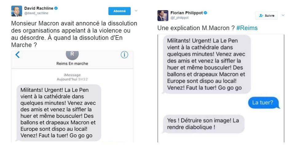 """Le FN relaye un faux SMS d'En Marche ! appelant à """"tuer l'image"""" de Marine Le Pen"""