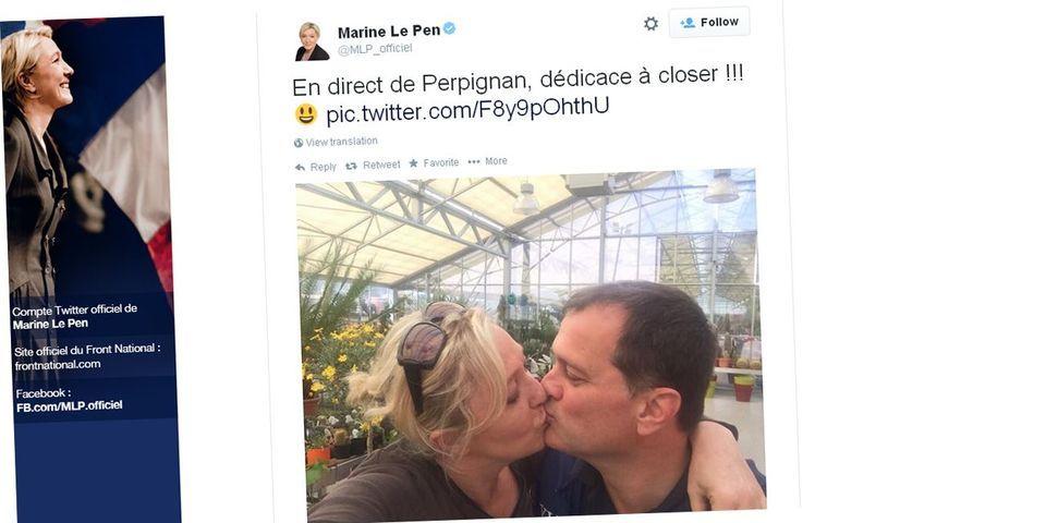 Le gros bisou de Marine Le Pen à Louis Aliot en direct d'une pépinière de Perpignan