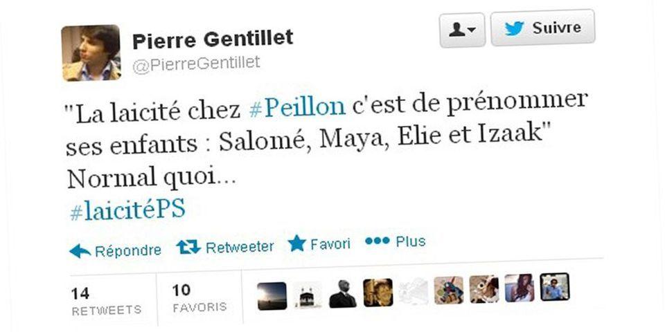 Le président des jeunes de la Droite populaire ironise sur les prénoms des enfants de Vincent Peillon
