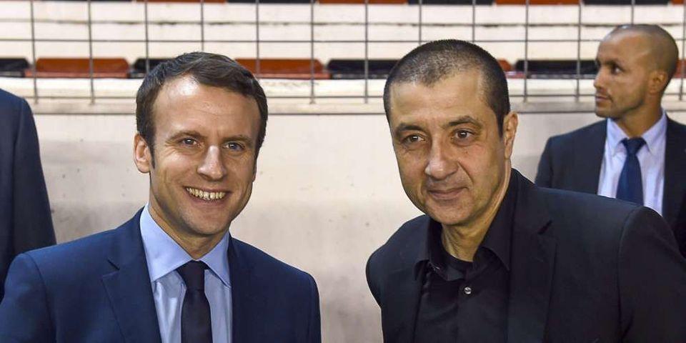 Le président du Rugby Club Toulonnais Mourad Boudjellal rejoint Emmanuel Macron