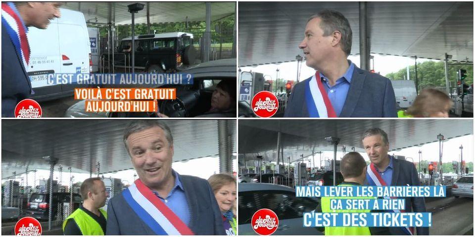 """Le raté de Nicolas Dupont-Aignan dans son opération médiatique au péage de Saint-Arnoult contre """"le racket autoroutier"""""""