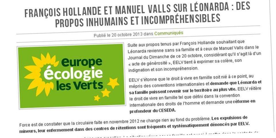 """Leonarda : les écologistes dénoncent les propos """"inhumains et incompréhensibles"""" de Hollande et Valls"""