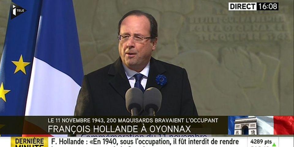 Les allusions de François Hollande aux sifflets dont il a été l'objet sur les Champs-Elysées