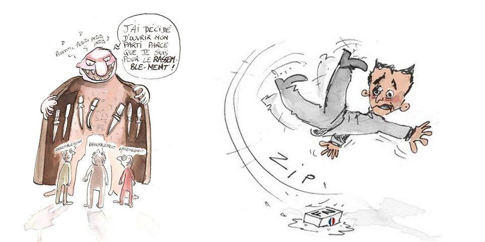 Les dessins moqueurs de Yann Wehrling, colistier UMP-UDI-Modem dans le 15e arrondissement, à l'égard de Nicolas Sarkozy et de l'UMP