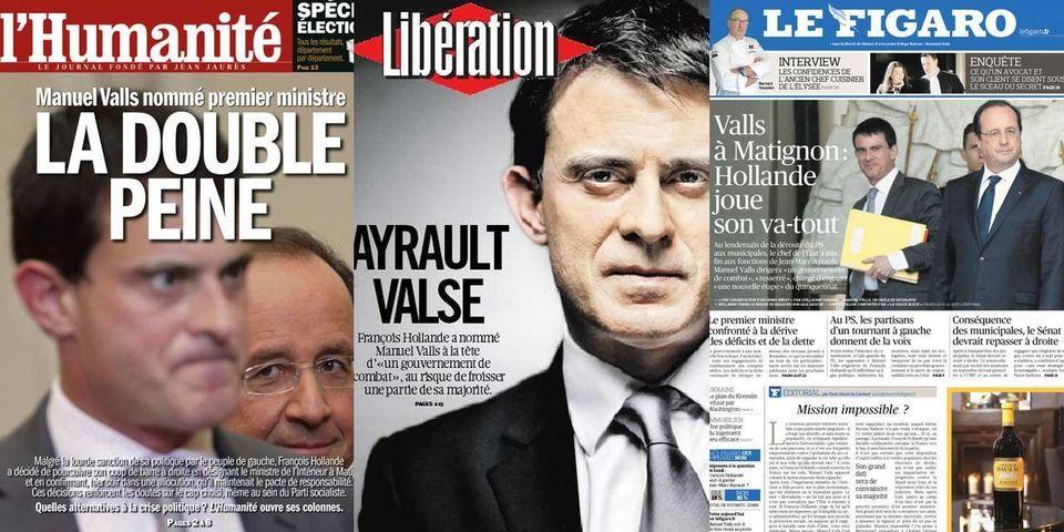 Les unes des journaux après la nomination de Manuel Valls à Matignon