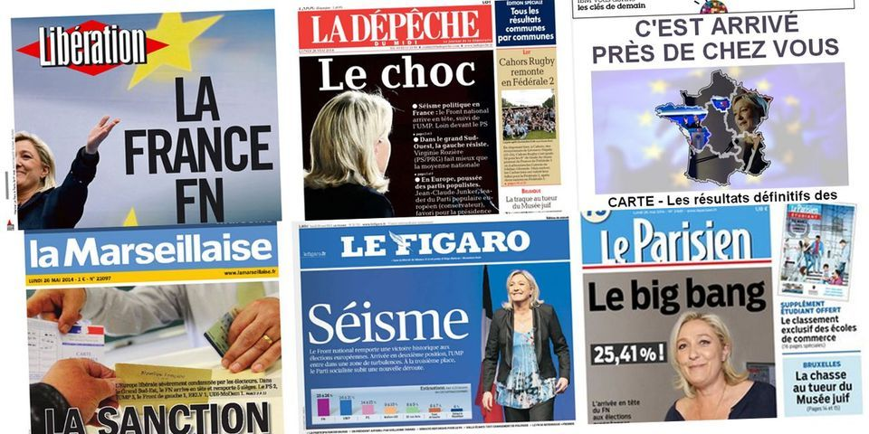 Les unes des journaux français du 26 mai, post-victoire du Front national aux européennes