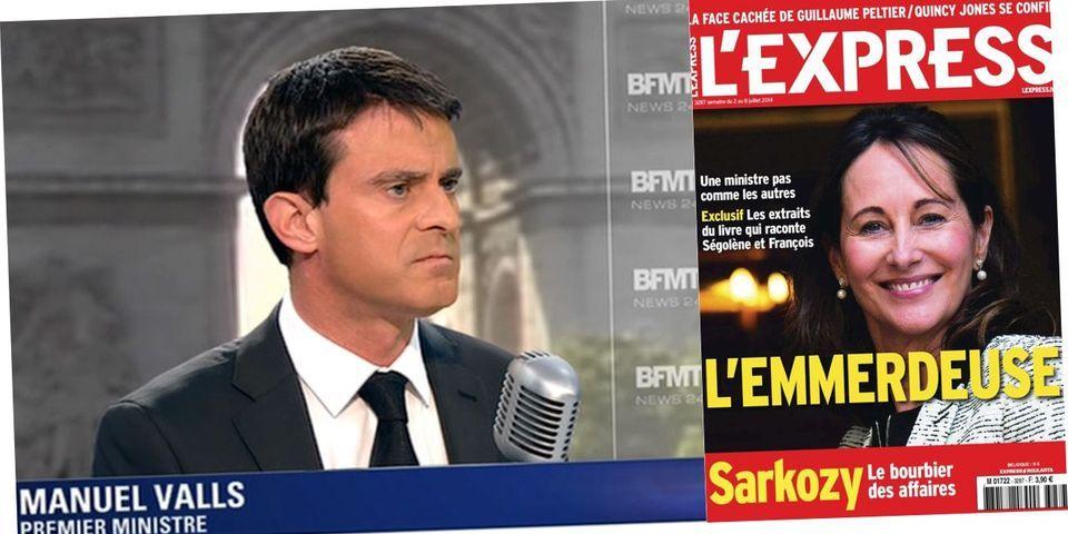 """Manuel Valls """"choqué"""" par la une de l'Express baptisant Ségolène Royal """"l'emmerdeuse"""""""