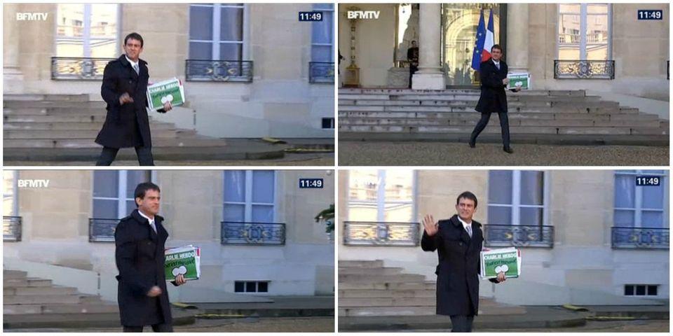 Manuel Valls sort du Conseil des ministres, Charlie Hebdo à la main