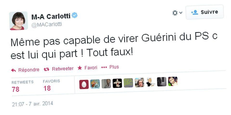 "Marie-Arlette Carlotti dénonce l'attitude du PS, incapable de ""virer"" Jean-Noël Guérini"
