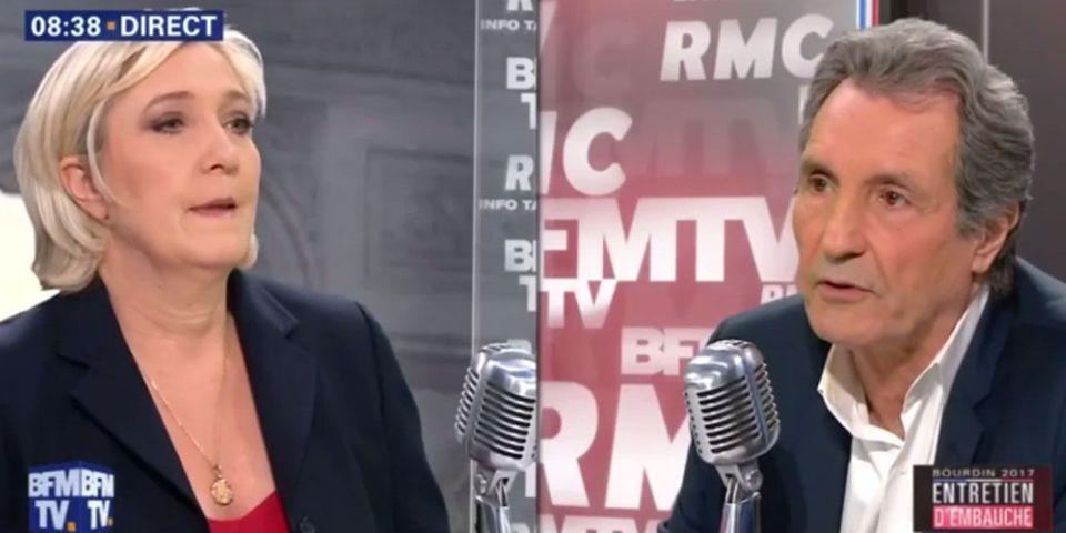 Marine Le Pen reproche à Jean-Jacques Bourdin le nom de son émission politique pour la présidentielle