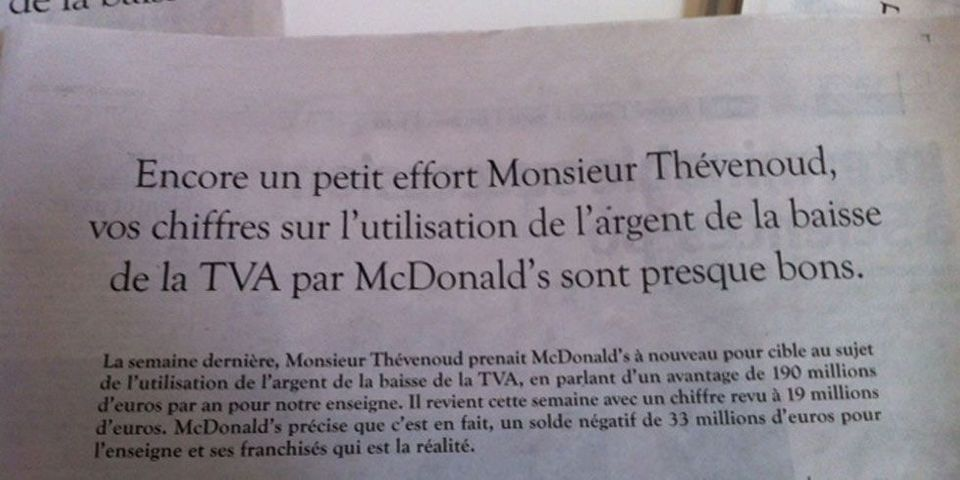 McDonald's s'essaie au fact-checking pour attaquer un député