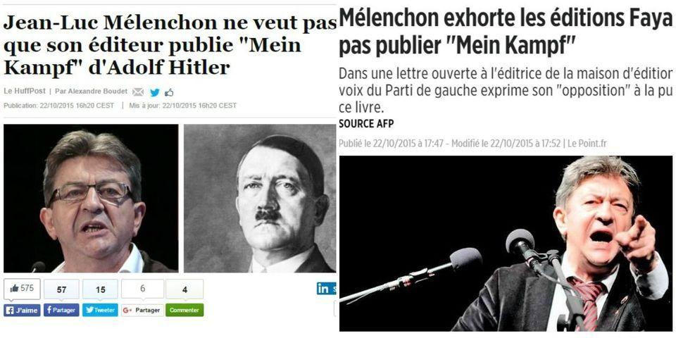 Mélenchon relaye un billet de blog pour accuser Le Point et Le Huffington Post de l'assimiler à Hitler