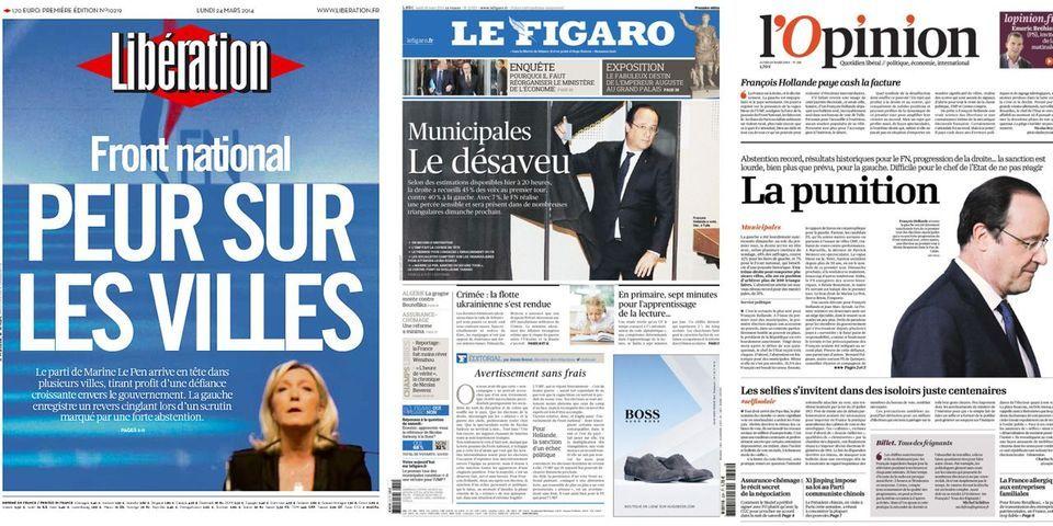 Municipales 2014 : les unes des journaux, après le premier tour