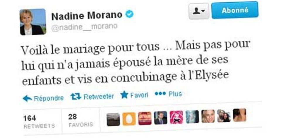 Nadine Morano ironise sur le concubinage de François Hollande dans un tweet sur le mariage pour tous