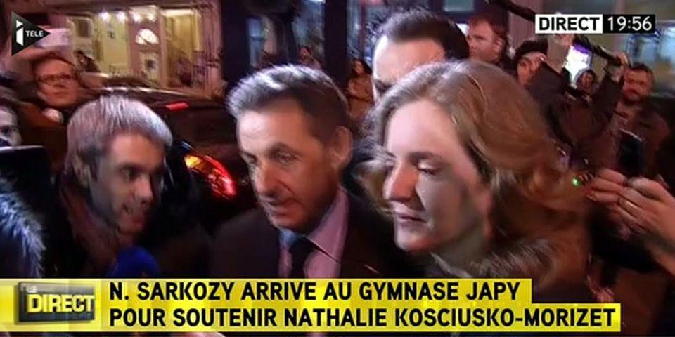 Nicolas Sarkozy avec NKM pour son meeting parisien