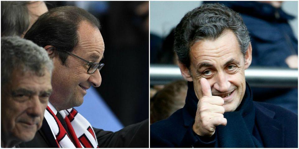 Nicolas Sarkozy et François Hollande enchaînent les blagues au Stade de France