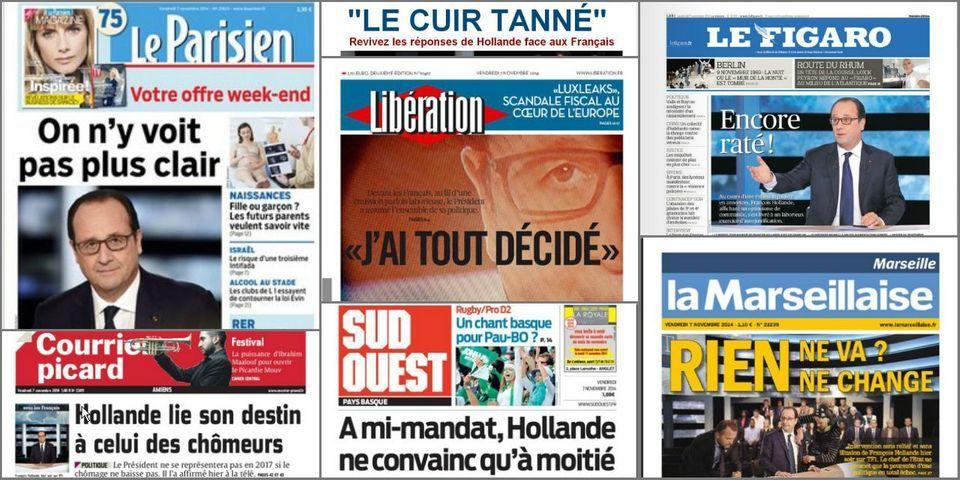 """""""On n'y voit pas plus clair"""", """"Encore raté"""" ... les unes de la presse après l'émission de Hollande sur TF1"""