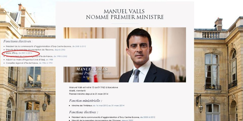 Oups, gouvernement.fr se trompe sur la biographie de Manuel Valls, et le transforme en cumulard