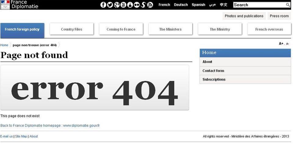 """""""Page non trouvée"""" sur le site du ministère des Affaires étrangères dans la catégorie """"Investir en France"""""""