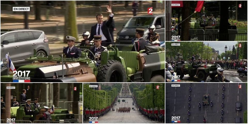 Passation de pouvoir : Emmanuel Macron remonte les Champs-Élysées en véhicule militaire