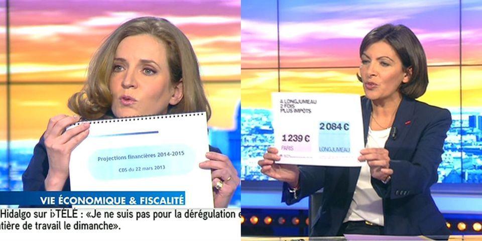Pendant un débat, Anne Hidalgo et Nathalie Kosciusko-Morizet s'affrontent avec... des panneaux
