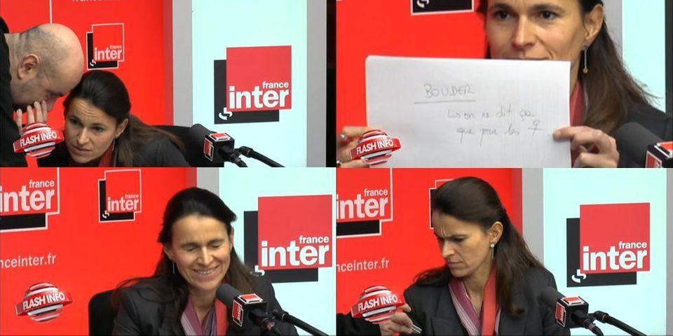 Petit mot au présentateur, conseiller à l'oreille, grimace et rire silencieux : quand Aurélie Filippetti oublie que la radio est filmée
