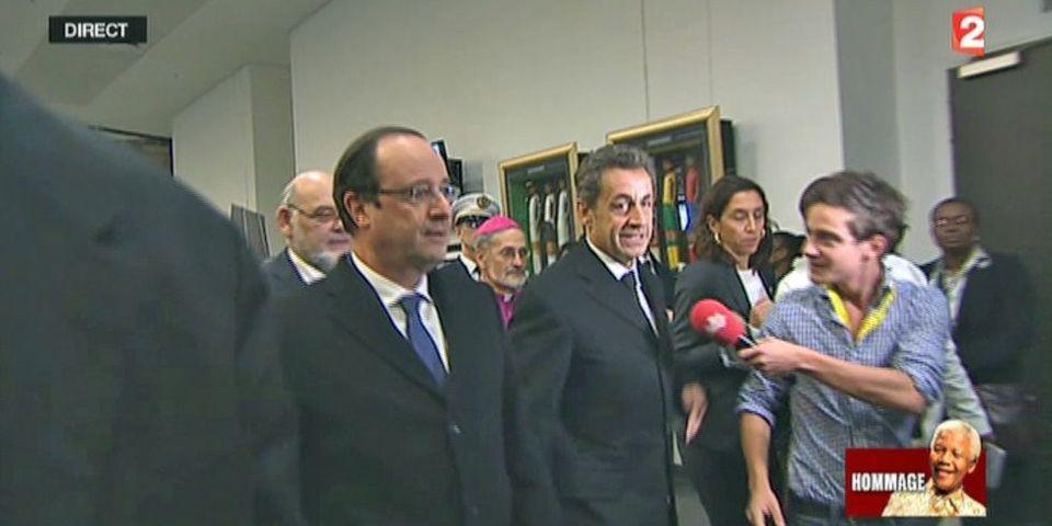François Hollande et Nicolas Sarkozy arrivent ensemble à la cérémonie d'hommage à Nelson Mandela
