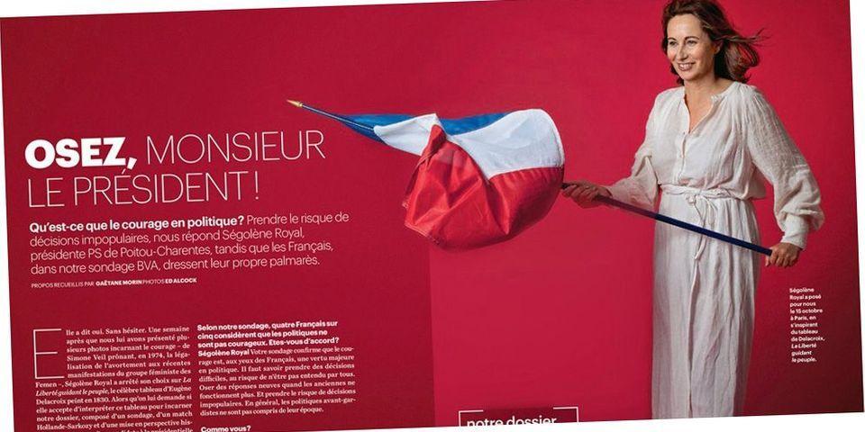 PHOTO : Ségolène Royal pose en Liberté guidant le peuple pour vanter le courage en politique