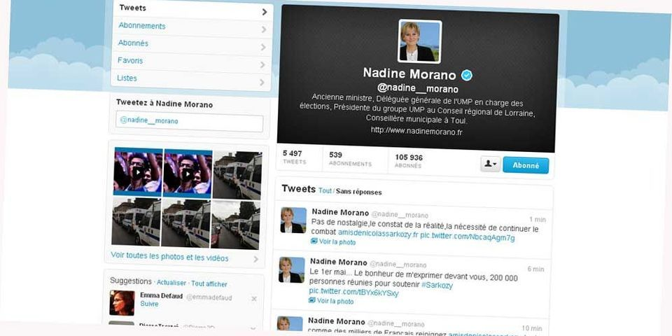 Pour fêter le 1er mai, Nadine Morano live-tweete le discours de Nicolas Sarkozy ... de 2012