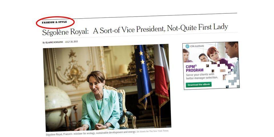"""Pour The New York Times, un article sur Ségolène Royal se classe dans la catégorie """"Fashion & Style"""""""