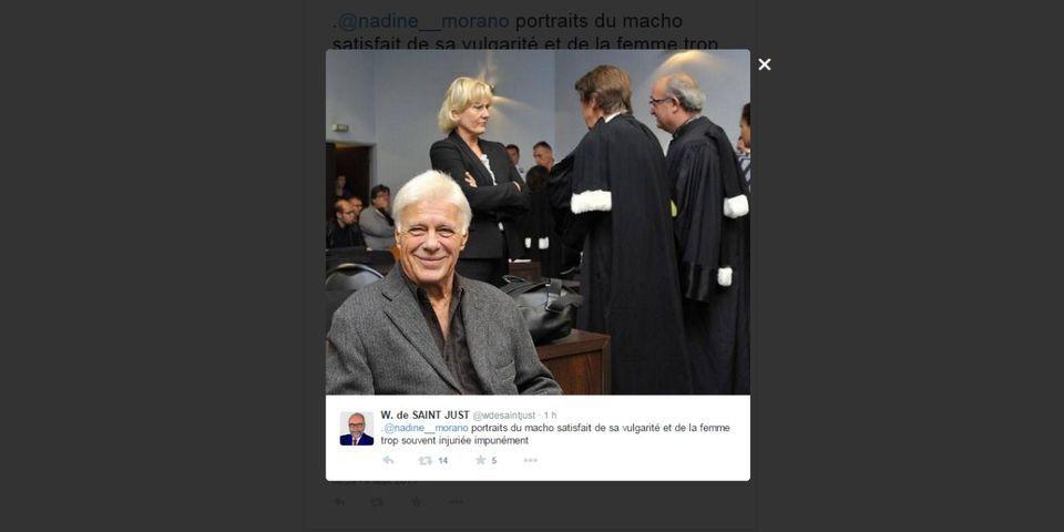 """Procès contre Guy Bedos : Wallerand de Saint-Just (FN) voit en Nadine Morano """"la femme trop souvent injuriée impunément"""""""