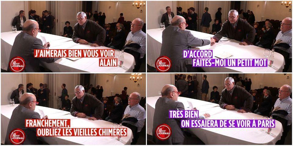 """Quand Alain Juppé se fait alpaguer par Robert Bourgi, figure de la """"Françafrique"""" qui disait transporter des valises de millions de francs pour Jacques Chirac"""