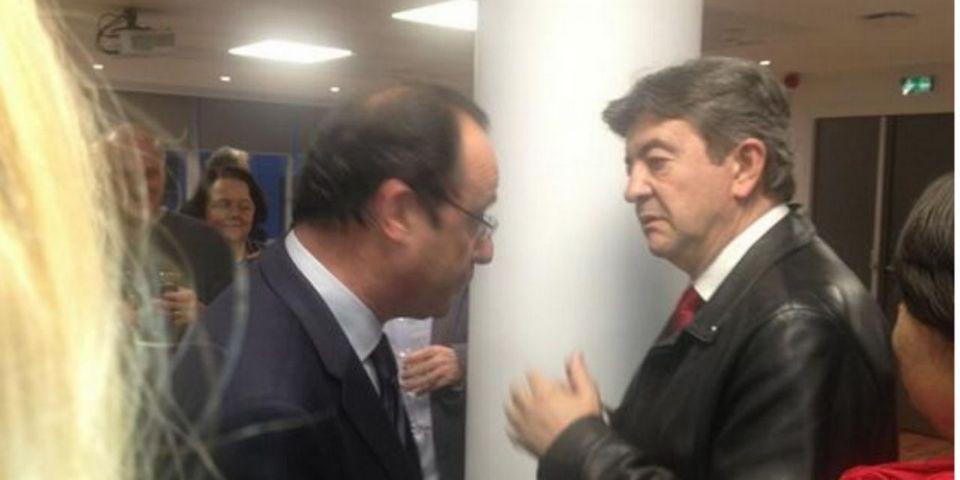 François Hollande s'invite au pot de départ d'une journaliste de l'AFP et tombe sur Jean-Luc Mélenchon