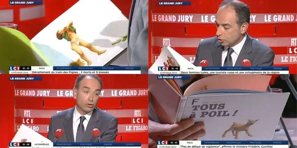 """Quand Jean-François Copé dégaine (et feuillette) le livre """"Tous à poil"""" sur un plateau de télévision"""