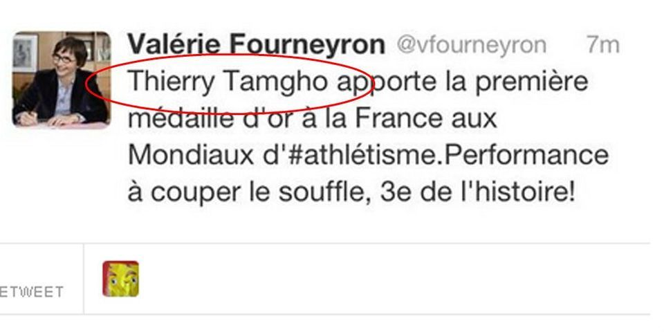 """Quand la ministre des Sports Valérie Fourneyron appelle Teddy Tamgho """"Thierry"""""""
