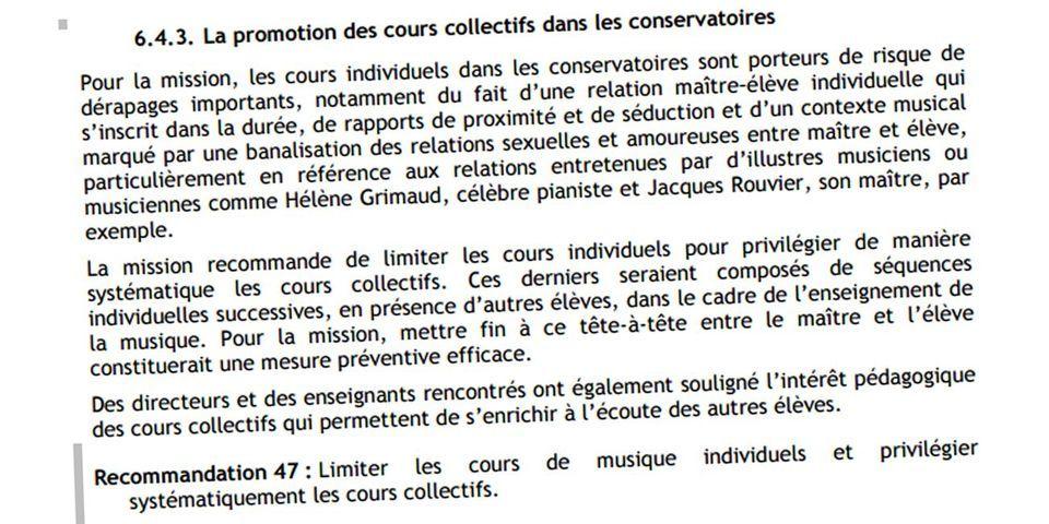 L'Inspection générale de la ville de Paris voulait supprimer les cours individuels au conservatoire à cause des risques d'infraction sexuelle