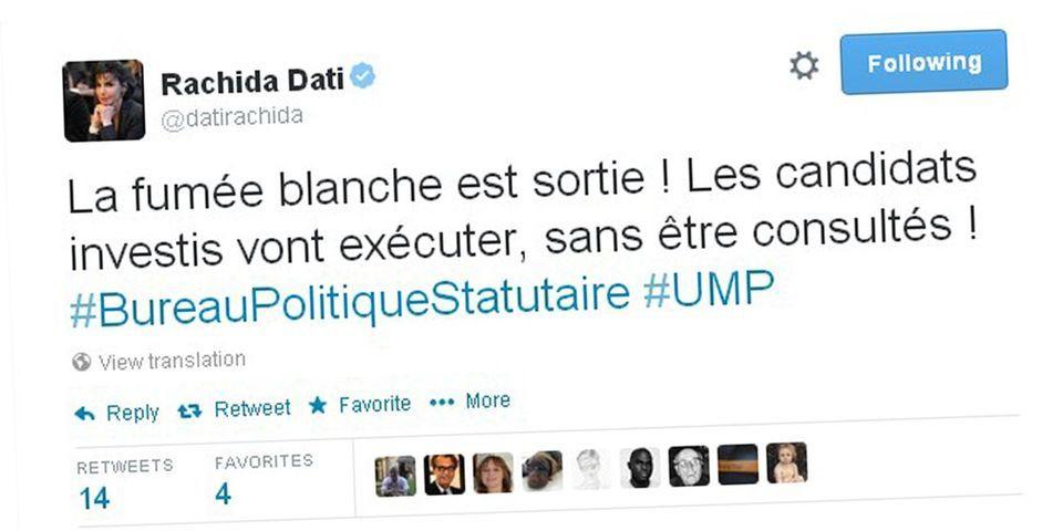 Rachida Dati compare le bureau politique de l'UMP à un conclave pour l'élection du pape